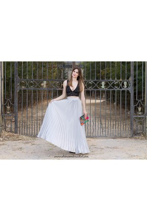 silver shein skirt