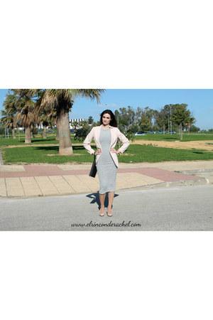 light pink H&M blazer - heather gray Stradivarius dress - black Primark bag