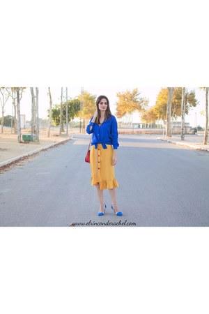 mustard romwe skirt
