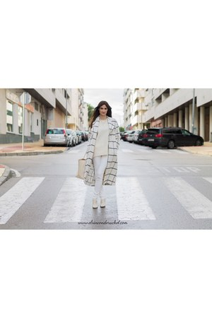 off white checkered shein coat