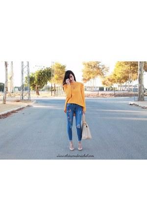 mustard romwe t-shirt - sky blue romwe jeans