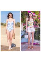 light blue shein swimwear - white bananas shein swimwear