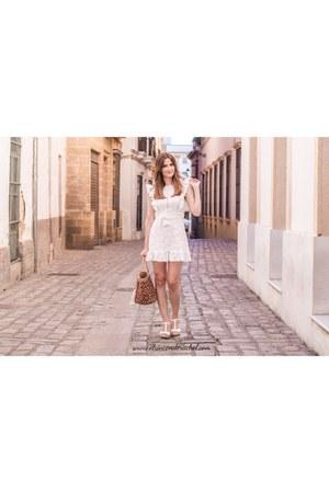 white lace ruffles shein dress