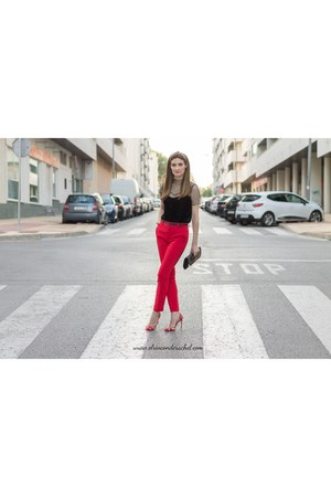 black velvet mesh shein top - red taylored Stradivarius pants
