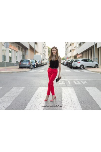 black velvet mesh shein top - red taylored Stradivarius pants