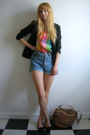 rainbow vintage blouse - black flats from etsy vintage shoes