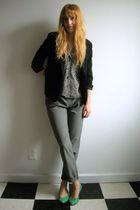 thrifted blouse - black thrifted Van Heusen blazer - gray H&M via Buffalo Exchan