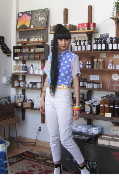 white tildon boots - white Vintage Thrifted jeans