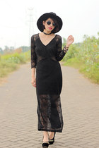 lace chicnova dress - sammydress hat - DIY necklace