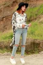 Lasenora shoes - old shirt - Chicwish cardigan