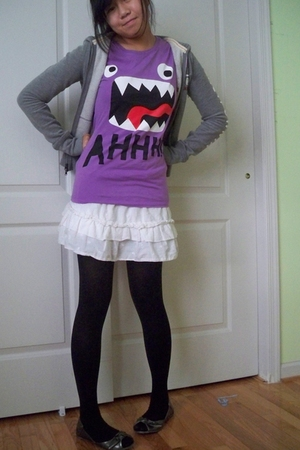 rue21 t-shirt - Old Navy skirt - from idk tights - hollister jacket - Target sho