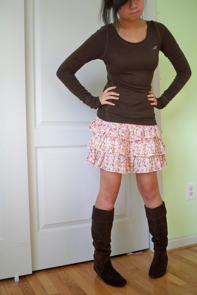 hollister shirt - limited too skirt - Steve Madden boots