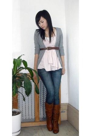 tawny cybul Steve Madden boots - blue jeans - light pink drape front Express top