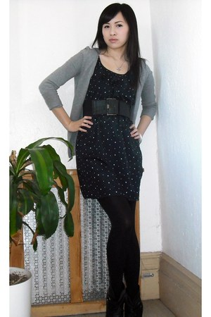 navy Urban Outfitters dress - heather gray H&M cardigan - black Yesstyle tights