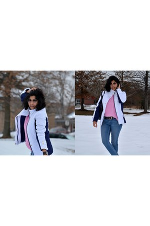 white thrifted jacket - blue Levis jeans - pink Zara sweater