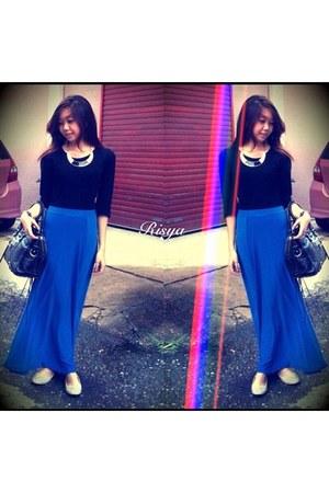 blue thrifted skirt - black balenciaga purse - cream studded thrifted flats
