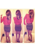 eclec Forever 21 skirt - sheer Forever 21 sweater - Vincci flats