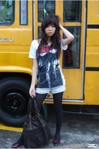 red flats - shirt - black tights - brown fringe purse - shorts
