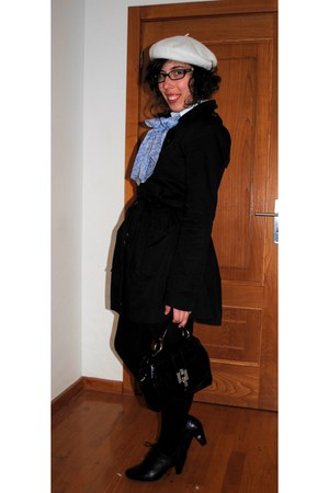 vintage scarf - Origem coat - Zara bag