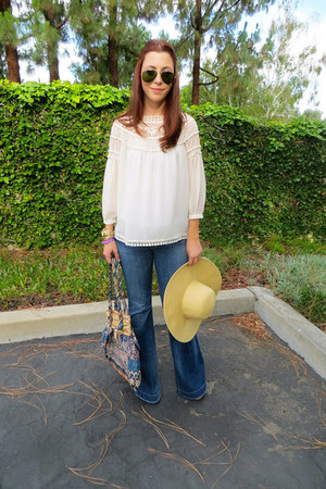 Forever 21 blouse - Hudson jeans - JCrew hat - Anthropologie bag