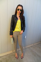 Bebe jacket - JCrew sweater - Gap pants - Zara heels