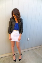 Bebe jacket - Aqua blouse - JCrew skirt - Zara heels
