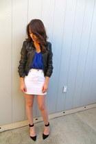 Bebe jacket - Aqua blouse - JCrew skirt - Zara heels