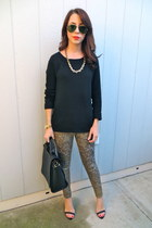 Zara bag - 7 for all mankind jeans - Forever 21 sweater - Zara heels