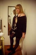 black BFT boots - black tights - navy shorts - black Abbey Dawn top