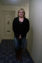 black gifted sweater - dark brown Payless boots - blue Bluenotes jeans