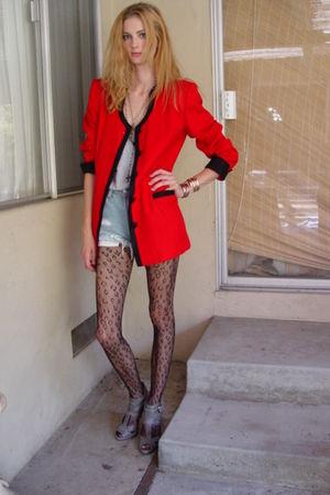 red vintage casual corner blazer