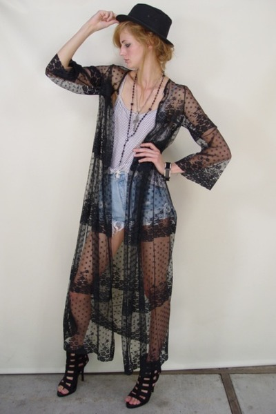 Black Jackets | &quotVtg 80&39s Sheer LACE DUSTER SCALLOP Dress JACKET