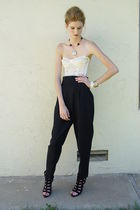 black LLOYED WILLIAMS pants - beige bra - black Forever 21 shoes