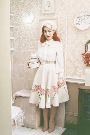 white 1950s vintage skirt skirt - ivory kate spade bag - white kate spade blouse