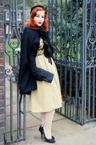 black vintage from Beyond Retro cape - mustard vintage from Beyond Retro dress
