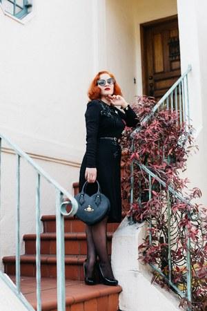 black 1940s from Relic Vintage dress - black vivienne westwood bag