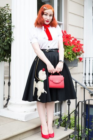 black 1950s vintage from etsy skirt - red kate spade bag