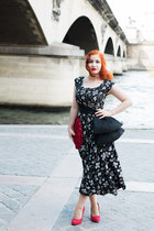 red 1930s bag from Beyond Retro bag - black 1950s dress from Beyond Retro dress