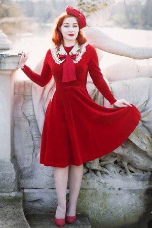 red Charlotte Russe shoes - red vintage from Beyond Retro dress