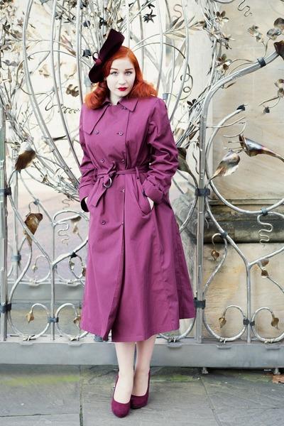 maroon vintage from Beyond Retro coat - maroon Joanna Violet hat