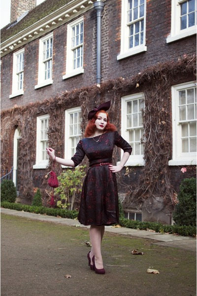 maroon 1950s dress from American Vintage dress - maroon Hat by Joanna Violet hat