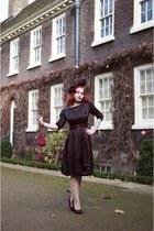 maroon 1950s dress from American Vintage dress - maroon Hat by Joanna Violet hat