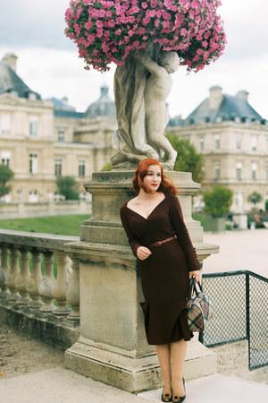 maroon Lena Hoschek dress - maroon vivienne westwood bag