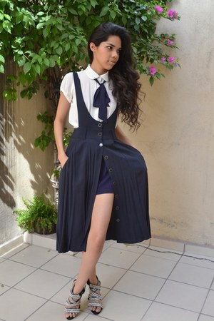off white Forever 21 shirt - navy Forever 21 skirt - black Zara heels