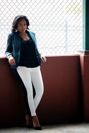 white Target pants - black Zara shoes - forest green Gap blazer