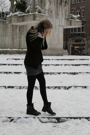 black Zara blazer - black H&M boots - silver Zara dress