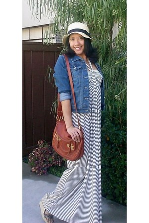 off white Lani California dress - cream Ebay hat - blue denim I & M Jeans jacket