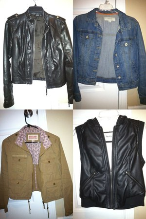 black no brand jacket - blue Target jacket - nude Target jacket