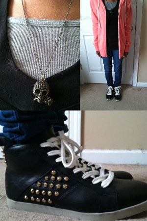gold necklace - blue jeans - salmon Old Navy hoodie - black long sleeved top