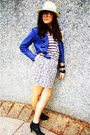 Gray-dotti-skirt-blue-jacket-black-spendless-boots-supre-shirt-silver-ri